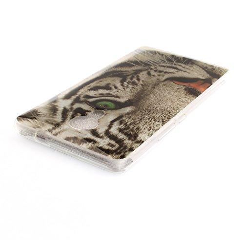 Ecoway TPU Funda Case for One Plus 3 , Ultra Thin Carcasa Anti Slip Soft Bumper Scratch Resistant Back Cover Crystal Clear Flexible Silicone Case Parachoques Carcasa Funda Bumper - León negro tigre blanco