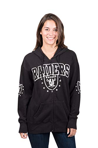 NFL Oakland Raiders Women's Full Zip Fleece Hoodie Sweatshirt Banner Jacket, X-Large, - Fleece Jacket Raiders Oakland