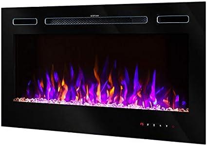 Art Flame Chimenea eléctrica Adeli. Para empotrar en la pared o en los muebles, llama multicolor con mando a distancia