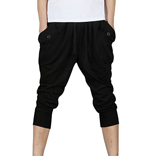 Pishon Men's Cuffed Jogger Pants Casual Baggy Jogging Tapered Cropped Harem Pants, Black, Medium (Cuffed Black Pants Cropped)