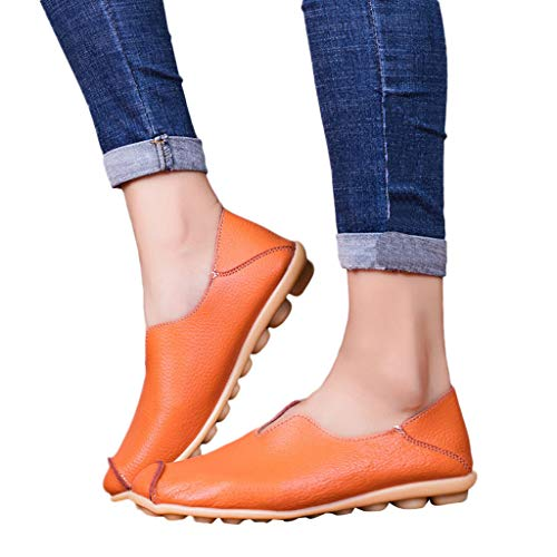Women's Leather Loafers Casual Round Toe Slip-On Moccasins Soft Comfort Driving Walking Flats Shoes (Orange, US 9)
