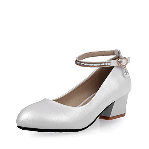 BalaMasa donna in vetro Diamond kitten-heels fibbia a punta rotonda gomma pumps-shoes, Bianco (White), 35