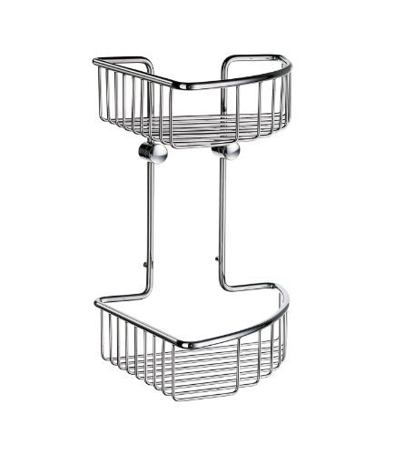 - Sideline 8.5 in. Double Corner Soap Basket in Polished Chrome by Smedbo