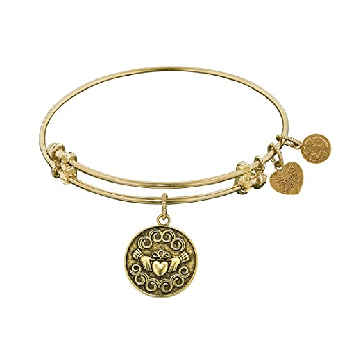 Angelica Collection Antique Yellow Brass Claddagh Claudagh Irish Bangle Bracelet -  Royal Chain