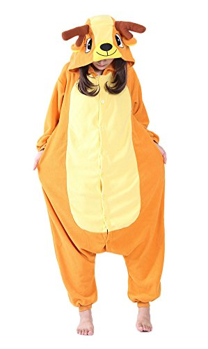 Xiqupjs Adult Onesie Pajamas Orange Deer Cosplay Costume One Piece Sleepwear L -