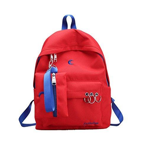 Weilong Teens School Backpack Set Nylon Embroidery Girls School Bags Bookbags Set of 2 (Red) [並行輸入品]   B077Q8Y55Z
