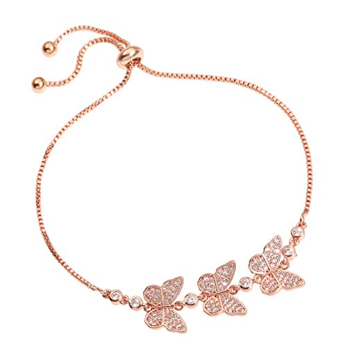 YOMEGO Charm Bracelet Adjustable Chain Bracelet with 14K Rose Gold Plated Great Jewelry Gift for Women Or Girls (Rose - Gold Rose 14k Charm