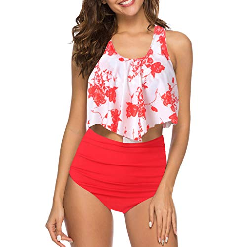 Swimsuits for Women,Chaofanjiancai Two Pieces Bathing Suits Top Ruffled Racerback High Waisted Bottom Tankini Set Swimwear Red ()