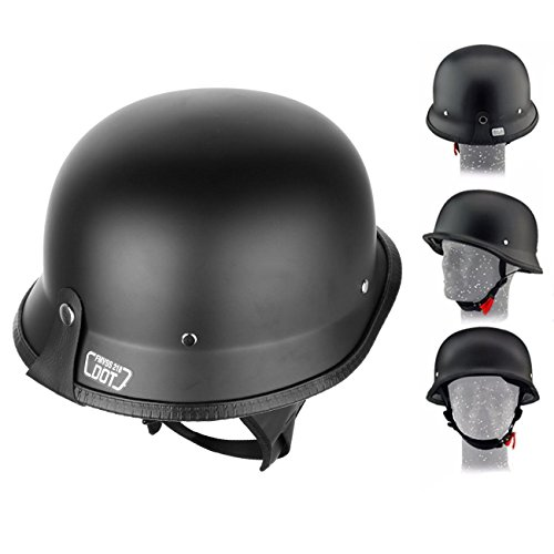 Iglobalbuy DOT Approved German Half Helmet Choooer Cruiser Custom Adult Motorcycle (Dot 3/4 Helmet)