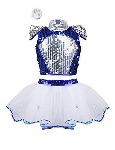 Agoky Girls Shiny Hip-hop Jazz Latin Stage Performance Costumes Kids Ballet Dance Tutu Dress Gymnastics Leotard Dancewear Blue Dancewear 3-4]()