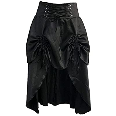 Steampunk Skirts Womens Black Satin Skirts Vintage Long High Waist Joint Ruffles Femme Burlesque Gothic Clothing
