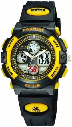 30m Water-proof Digital-analog Boys Girls Sport Digital Watch with Alarm Stopwatch Chronograph (Child) 6 Colors (Yellow-black)