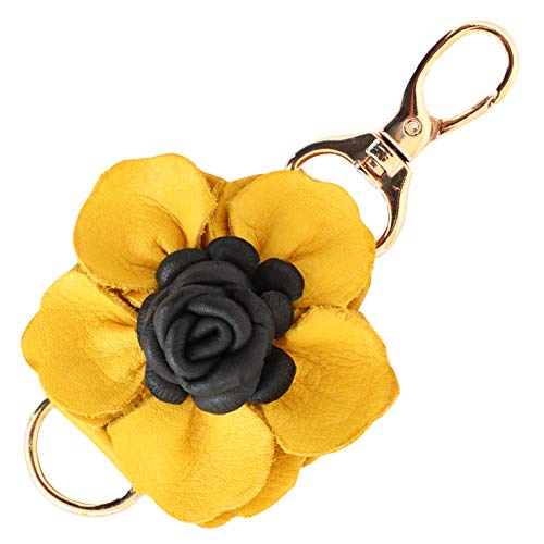 Genuine Leather Handmade Flower Charms | Pom Pom Keychain | for Tassel Bags Purse Backpack | Stainless Steel Key Ring (Yellow - Flower) ()