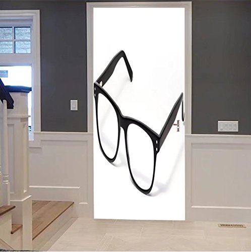 iprint 3d Door Wall Mural Wallpaper Stickers-black eye glasses isolated on white 124979924 For  Room Decor 30x79