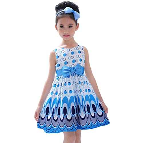VEZAD Bow Belt Sleeveless Bubble Peacock Dress for Kids Girls Party Clothing Outfits