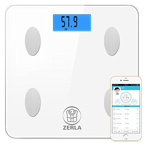 ZERLA Bluetooth Body Fat Scale - High Precision Scale Reads Muscle Mass, BMI and Body Weight Measurements - Features an Easy-to-Read Backlit LCD Screen and Step-On Technology - Sleek, Stylish Design