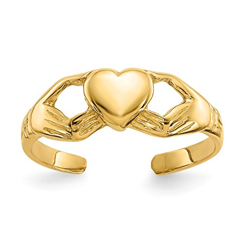 Celtic 14k Ring Toe (14k Yellow Gold Irish Claddagh Celtic Knot Adjustable Cute Toe Ring Set Fine Jewelry Gifts For Women For Her)