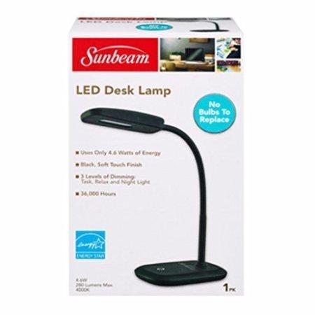 New SUNBEAM Flexible Neck LED Desk LAMP Adjustable Light Energy Star (Black)