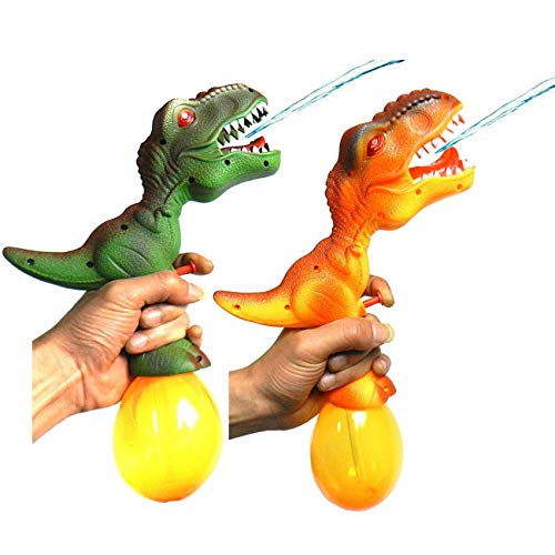 NiGHT LiONS TECH 2 Packs Novelty Emulational Dinosaur Water Gun with Sound LED - Kids Toy Swimming Pool Beach Sand Water Fighting,Toddlers Bathing Toy Water Gun 12.8 inch ()