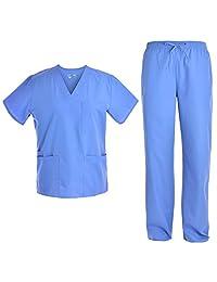 Pandamed Scrubs Set Medical Uniform Unisex Workwear V-neck Top Pants JY1601