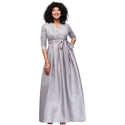 5f9f9619548 ... Lace and Taffeta Surplice Plus Size Ball Mother of Bride Groom Gown  Style.   