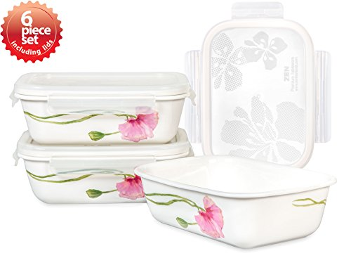 Lock & Lock Ceramic Bowl Rectangular Medium 600ml / 20oz Sophie Pattern Oven, Microwave and Diswasher Safe 6piece set