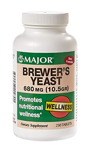 MAJOR Brewers Yeast 680MG(10.5GR) TABS Brewers Yeast (Saccharomyces CEREVISIAE)-680 MG Brown 250 Tablets UPC 309046402701