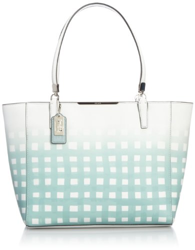 Coach Madison East/west Tote in Gingham Saffiano Leather White/ Duck Egg (Madison Handbag Coach)