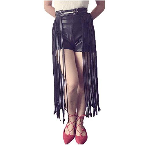 Extra Long Fringe (F plus R Womens Hippie Designer Inspired Leather Extra Long Fringe Tassel Skirt Belt Black Medium)
