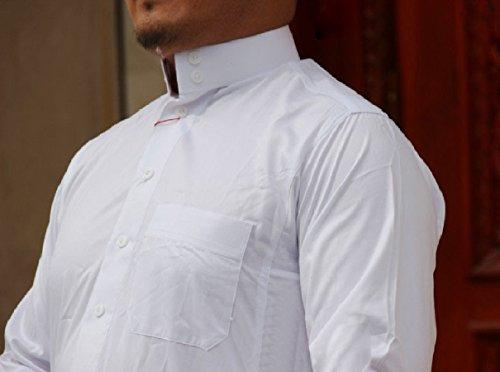 Highisa Men Stand Collar Long-Sleeve Islamic Fine Cotton Muslim Thobe White 50 by Highisa (Image #2)