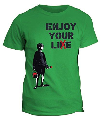 Cotone Verde Your Enjoy Londra Tshirt Writer Life Humor Bomboletta Banksy In Ovq7z