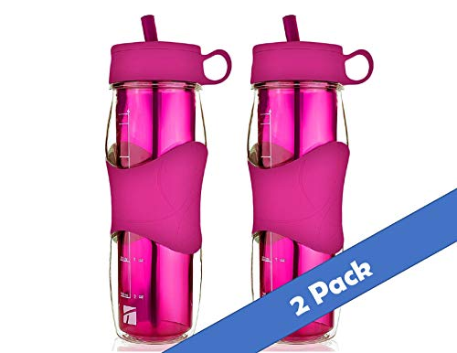 Trudeau Plastic Water Bottle 16 oz, BPA Free Tritan Hard Materials, with Flexible Silicone Straw, Cold Drinking Portable Perfect for Outdoor Bicycle & Camping & Gym- Pink (2)