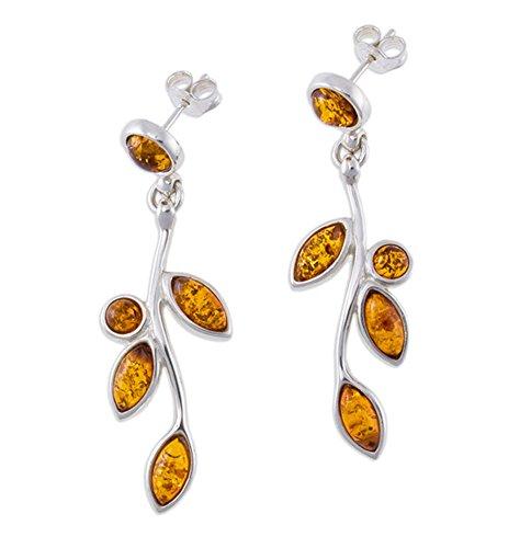Silver Amber Earrings, Cognac, Baltic Amber-Leaves of Amber Earrings