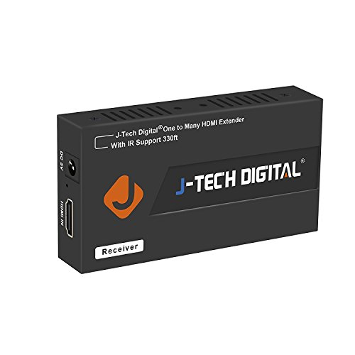 J-Tech Digital HDMI Extender Over Single Cat5e/6 Ethernet Cable with IR Up to 330 Feet 100m Supports 1080P HDCP One to Many Connecction (Receiver Only)