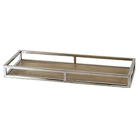Better & Best 2751078-Vassoio in Legno Naturale, Acciaio, Rettangolare, Media, con corrimano, Dimensioni: 41 x 26,5 x 6 cm