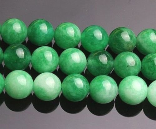 Jade Gems Round Bead - Gozebra(TM) 8mm Natural Korea Green Jade Gemstone Round Loose Bead 15