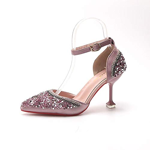 y Fall Toe Poliuretano Black Zapatos Dos de Heel PU D'Orsay Green Stiletto Puntas ZHZNVX Tacones Pink Pointed de Mujer Black qZSwZX0