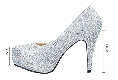 Frauen Mit Hohen Absatzen Hochzeit Schuhe Wasserdicht Silver Slipper