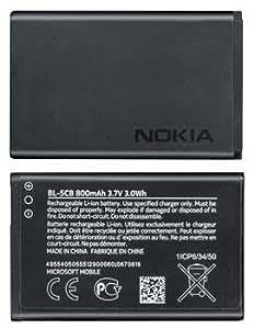 TPC© Bateria Original Nokia BL-5CB para Nokia 1616, 1800, C1-02, 101, X2-05, Microsoft Edition, 800mAh, Bulk
