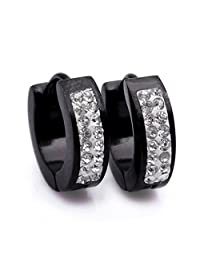 Epinki, Women's Men's Stainless Steel Fashion Jewelry Stud Hoop Earrings for His and Hers 13*4MM