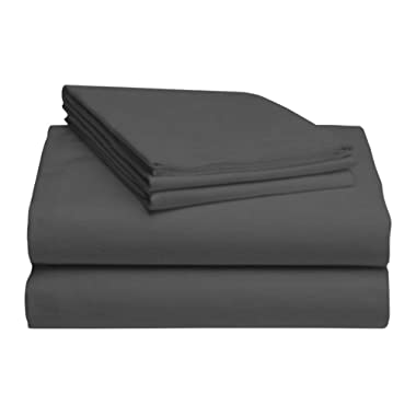 LuxClub Bamboo Sheet Set - Viscose from Bamboo - Eco Friendly, Wrinkle Free, Hypoallergenic, Antibacterial, Moisture Wicking, Fade Resistant, Silky, Stronger & Softer Than Cotton - Grey King