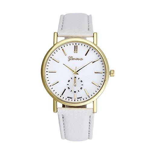 Men Quartz Watch,Hotkey Geneva Unisex Leather Band Analog Quartz Vogue Wrist Watch Watches, Comfortable PU Leather Band CS-3169 (White) (White Geneva Watches For Men)