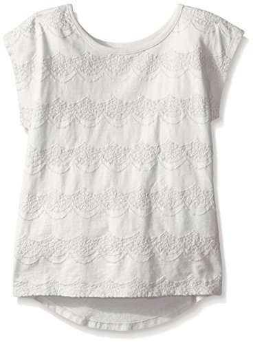 Girls Short Sleeve Knit Top (Crazy 8 Big Girls' White Crochet-Front Knit Top, Jet Ivory,)
