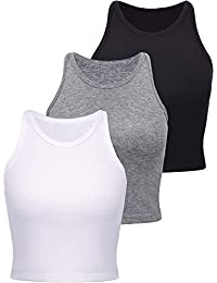 3 Pieces Women's Cotton Basic Sleeveless Racerback Crop Tank Top Sports Crop Top for Lady Girls Daily Wearing