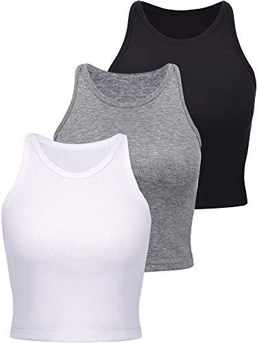 Boao 3 Pieces Women's Basic Sleeveless Racerback Crop Tank Top Sports Crop Top for Lady Girls Daily Wearing (Black, White, Li