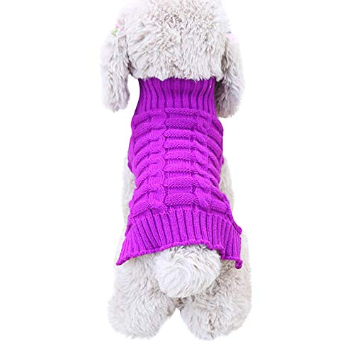 Hpapadks Pet Dog Cashmere Twisted Sweater, Pet Dog Cat Winter Warm Turtleneck Sweater Coat Costume Apparel Small Dog Clothes