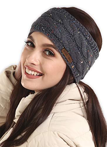 (Womens Cable Knit Ear Warmer Headband - Winter Fleece Lined Headwrap by Brook +)