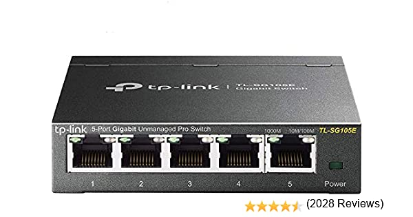 TP-Link TL-SG105E Unmanaged PRO Switch, 5 Puertos Gigabit Inteligente, Plug&Play, Gigabit Puerto, Caso Metal VLAN, QoS, Software de Gestión Inteligente Fácil