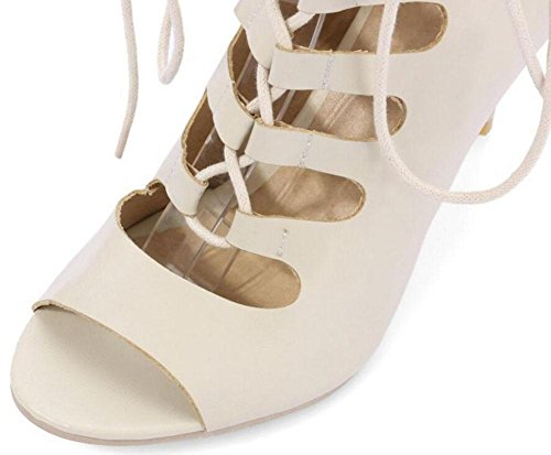 Sandals Women Shoes Toes Hollow Pumps GLTER Roman Shoes Cross Beige Peep Heeled High Strap Court vORqwdt