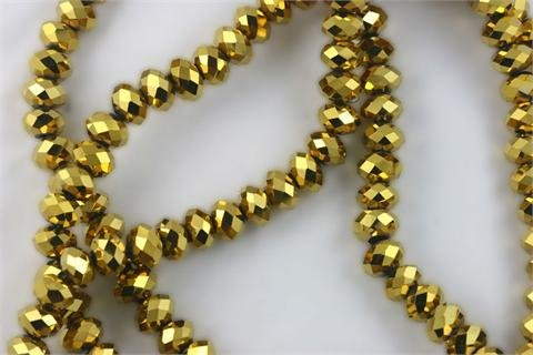 Chinese Crystal Glass Beads Faceted Rondelle 8mm Gold [18 inch strand] (3650)